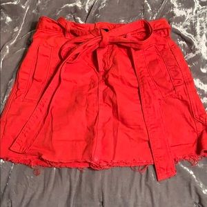 RED skirt with tie belt
